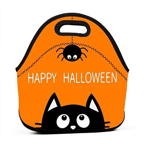 (Kinder Lunchtaschen für Mädchen - Happy Halloween schwarze Katze billige Taschen für Frauen 3D Druck Lunchbox Lebensmittelbehälter Picknicktaschen Tragetasche Handtasche)