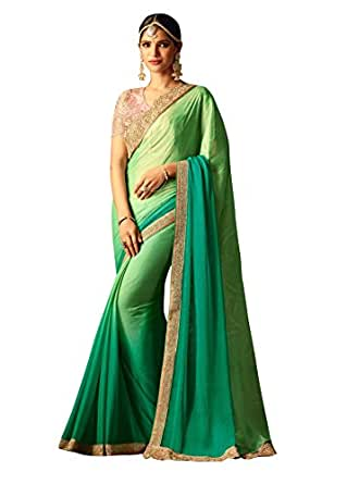 World of style Silk Saree With Blouse Piece (SC20004_Green_Free Size)