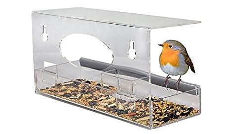 Natur Fenster Futterspender für Garten Vögel wie Kardinäle und Kolibris – Acryl Vogel Futterspender, Klarste (Cardinale Giardino)