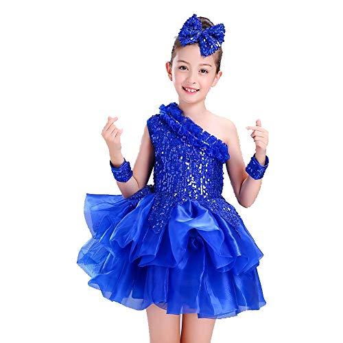 HUO FEI NIAO Mädchen Jazz Dance Rock Performance Kleidung Paillettenrock (Farbe : Blau, größe : ()