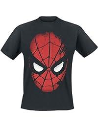 T-shirt super-héros Marvel Spiderman Big Face grand visage - Sous licence - Coton - Noir
