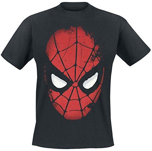 Spider-Man-camiseta-de-la-mscara-del-superhroe-de-Marvel-con-la-licencia-oficial-algodn-negra-S
