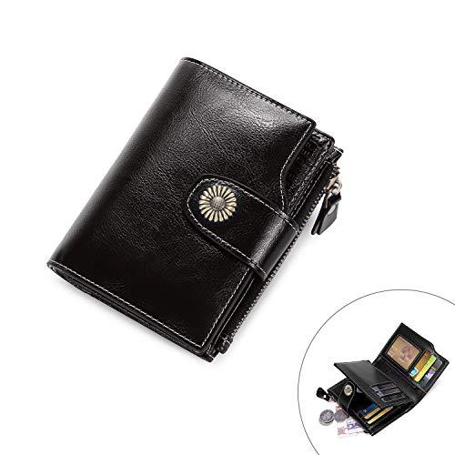 0ddfebe8af70b Vintage Damen Geldbörse Klein Portemonnaie Leder Frauen Geldbeutel mit  Reißverschluss und RFID Schut