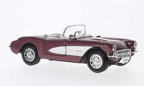 Chevrolet Corvette, metallic-dunkelrot/blanche, 1957, voiture miniature, Miniature déjà montée, Lucky - Cast