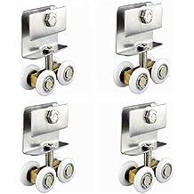 Stillshine 4 juegos de rodamientos de puerta de ducha de vidrio para puertas correderas ruedas poleas