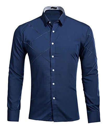 DD UP Herren Casual Slim Fit Einfarbig Baumwolle Tops Shirts Langarmshirts Hemden (Viele Farben) Navy Blue