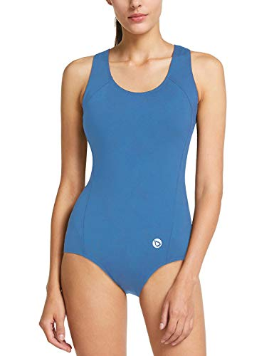 Baleaf Damen Konservative Athletic Racerback Einteiler Training Badeanzug Badeanzug Badeanzug - Blau - 42 (Athletic Badeanzug Einteiler)