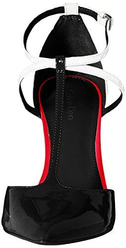 Calvin Klein Savannah Pump Damen Spitz Lackleder Stöckelschuhe Black/White