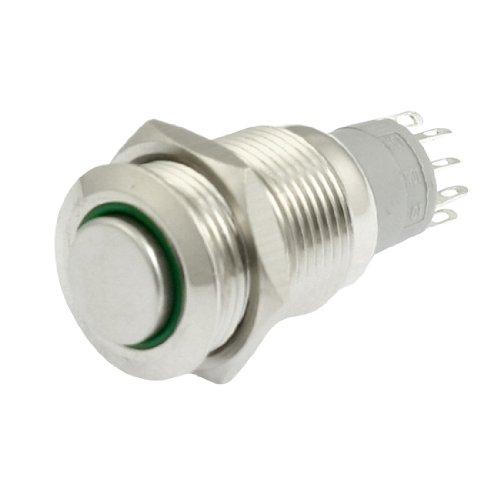 Grüne LED Pilot Light 24V 16mm SPDT Edelstahl Latching rund Push Button Switch