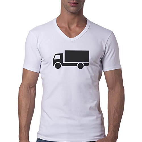 Car Vehicle Four Wheels Auto Black Truck Herren V-Neck T-Shirt Weiß