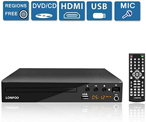 Kompakt DVD-Player Multi-Regionen codefree mit USB-Eingang/ HDMI /Cinch/ MIC Ports und Fernbedienung, Multiformates (Schwarz)