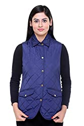 Trufit Sleeveless Solid Womens Denim Blue Lightweight Quilted Without Zip Golden Buttons Polyetser Jacket