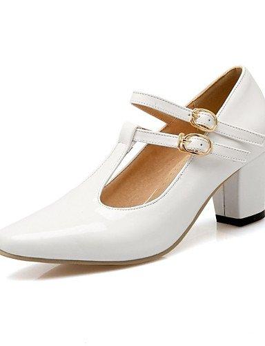WSS 2016 Chaussures Femme-Mariage / Habillé / Décontracté / Soirée & Evénement-Noir / Rose / Rouge / Blanc / Beige-Gros Talon-Talons-Talons-Cuir black-us6.5-7 / eu37 / uk4.5-5 / cn37