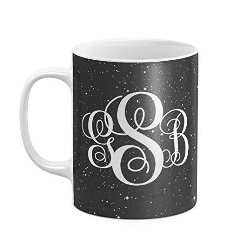 Mug à Thé ou Café Céramique Résistante à la Chaleur 325 ML Noir Space Stars Galaxy Custom Monogram Monogrammed Initiales Galaxie Cosmique Personnalisée Customisable Initiale Prénom Et Nom De Famille