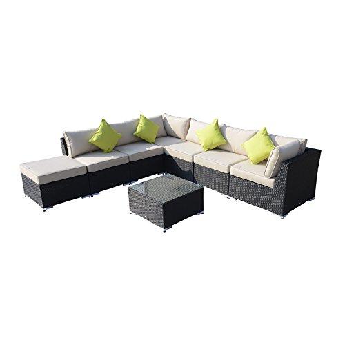 Outsunny Rattansofa für den Garten Aluminium Outdoor Terrasse Set Rattan Sofa-Set-Sitzer schwarz Fire beständig Schwamm + Tisch Kissen bereits montiert - Aluminium Outdoor Patio Sofa
