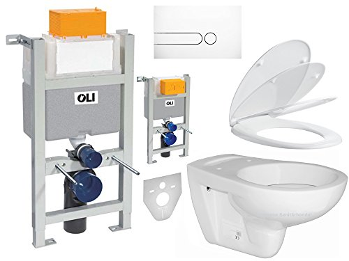 WC-Vorwandelement Komplettset SET OLI BH 82 kurze Pl. weiß Wand WC WC-Sitz Absenkautomatik