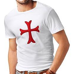 lepni.me Camisetas Hombre El templario de los Caballeros - Cruz templaria Regalo para él (X-Large Blanco