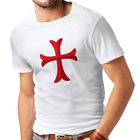 T-shirt pour hommes Chevalière Croix Rouge les templiers (XX-Large Blanc Multicolore)