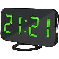 Reloj despertador electrónico con pantalla digital con luz nocturna, atenuación automática, función de repetición