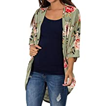 5086fadbb1d608 YWLINK Mode Damen Kimono Strickjacke Casual Schal Blume Drucken Top Cover  Up Bluse Strandkleidung
