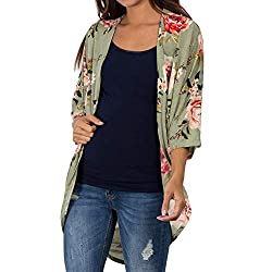 YWLINK Mode Damen Kimono Strickjacke Casual Schal Blume Drucken Top Cover Up Bluse Strandkleidung(XXL,Grün)