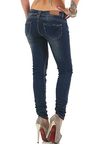 Rock Angel Damen Jeans Freizeit Hose Skinny Bluejeans Hüfthose Casual Blau