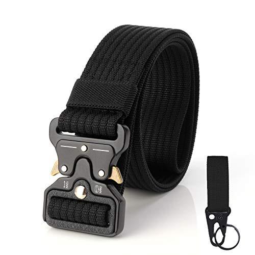S.Lux, Cinturón de tela para hombres con una abrazadera, Cinturón de plástico YKK Cinturón de recreación hipoalergénico de secado rápido transpirable al aire libre Ejercicio físico (Negro A)