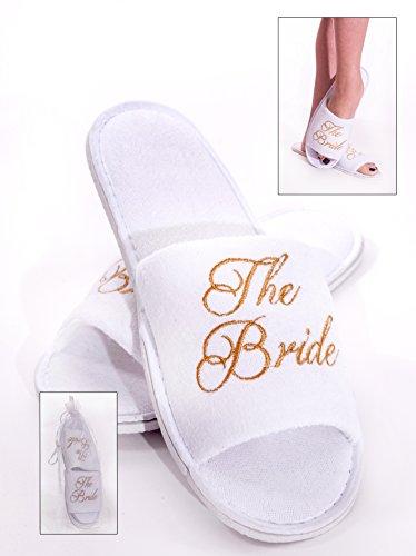 Alandra Geschenke slip-btb Spa Slipper für die Braut, Unisex, weiß und gold, One Size
