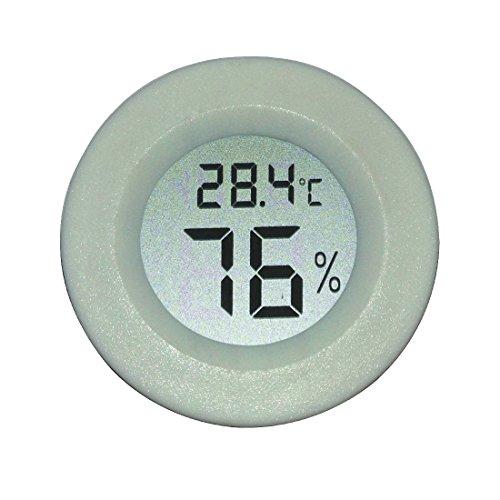AGEG Runder Digitaler Elektronischer Thermometer Feuchtigkeitsmesser Hygrometer Humidiometer mit LCD-Anzeige für Familie Büro Fabrik Hundehütte Reptil Behälter (Weiß) (Familie Thermometer)