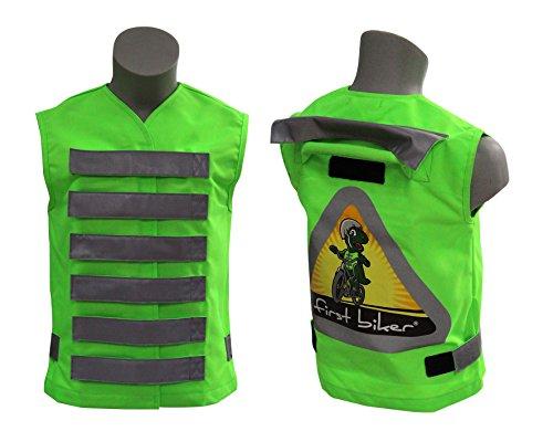 FIRST BIKER: Hochwertige Fahrradlernweste mit Haltegriff und Kinderwarnweste in Einem (grün)