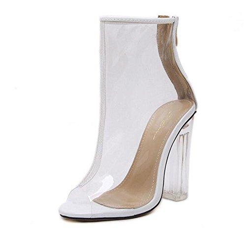 GLTER Donne Cinturino di Pompe Open-Toe Tacchi Classic Glass Film Tacchi alti sandali spessi Zipper Scarpe trasparente 35-40 UE White
