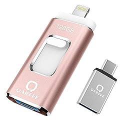 QARFEE USB Stick 128GB für iPhone USB-Stick Speicherstick iOS Flash Drive USB 3.0 mit Type C für OTG Android Handy iPad MacBook PC Externe Erweiterung