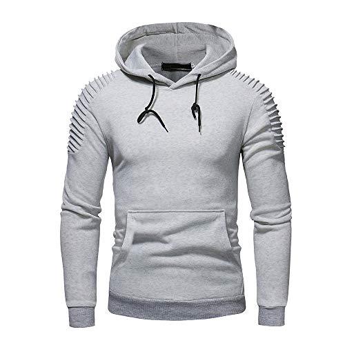 Riou Herren Langarm Hoodie Pullover Slim Fit Kapuzenpullover Sport T-Shirt Baumwoll Sweatshirt Outwear Herren Herbst Winter Langarm Pocket Patchwork Kapuzen Pullover Tops (L, Grau B) -