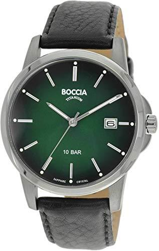 Boccia Herren Analog Quarz Uhr mit Leder Armband 3633-02