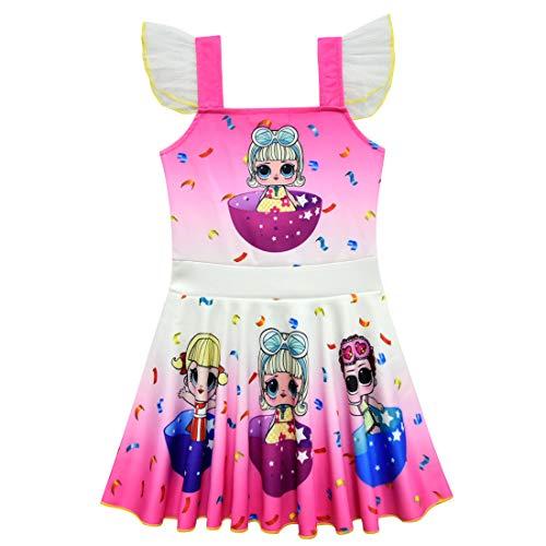 QYS Mädchen Kinder LOL Puppe Überraschung Prinzessin Kostüm Halloween Cosplay Kostüme Tanz Ballerina Party Outfit,Pink,110cm