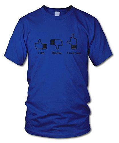 shirtloge - LIKE * DISLIKE * FxxK YOU - FUN T-Shirt - KULT - in verschiedenen Farben - Größe S - XXL Royal (Schwarz)