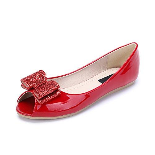 OCHENTA Damen Ballerinas mit Blume oder Schleife Gemustert Rot D-8