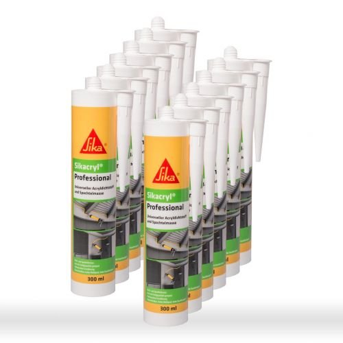 Sika Corporation 528149 Sikacryl Pofessional Acryl-Dichtstoff Fugendichter, Weiss, 12x 300ml