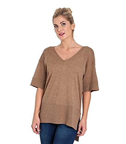 WoolOvers Womens 100% Merino V Neck Knitted Tunic Camel, XL