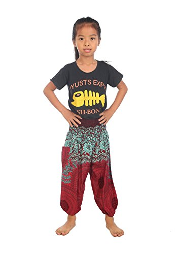 Lofbaz Bebé Pantalones Harem Gypsy patrón del Rose Flower Hippy Borg