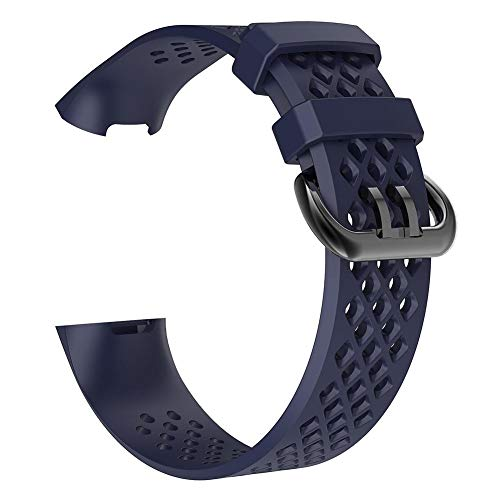 YouN Silikon-Armband mit porösem Armband für Fitbit Charge 3 (Marineblau L)