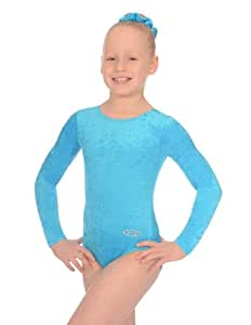 """The Zone Z102RAM justaucorps de gymnastique à manches longues, velours écrasé, turquoise, taille 24"""""""