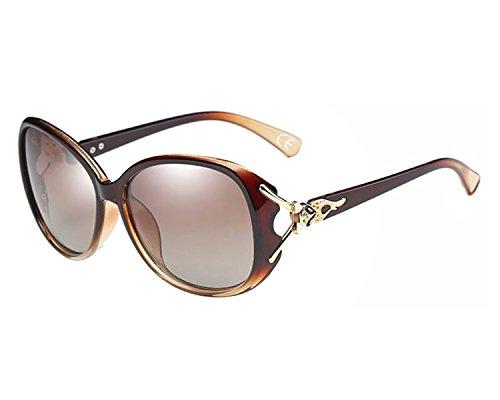 BVAGSS Retro Polarisiert Sonnenbrille Damen Big Rahmen 100% UV400 Schutz (Brown Frame With Brown Lens)