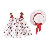 LEXUPE Infant Baby Mädchen Kleidung Set Kurzarm Rundhals Rose Print Strampler Rüschen Plissee Solid Color Rock Outfit Set 2 Stücke für 0-18 Monate(Rot-C,90/9/10)