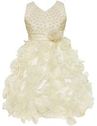 f7a2c219dc1b7 freebily Enfant Fille Robe Princesse Cérémonie Fille Robe Demoiselle  d honneur Gala Fête sans Manches