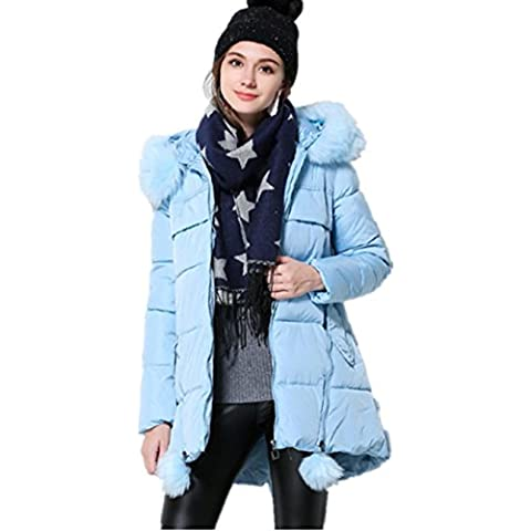 XYXY Las mujeres con capucha capa algodón invierno chaqueta . sky blue . xxxl