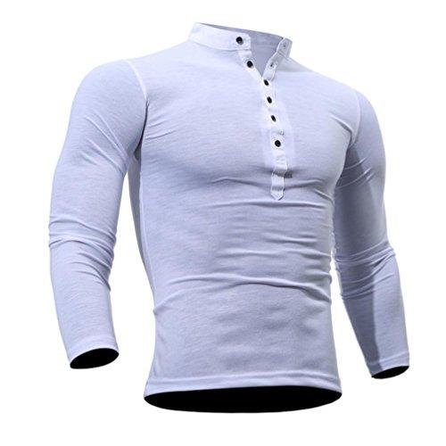 ❤️Veste Homme Sweatshirt Blouson❤️, Amlaiworld Hommes T-Shirt Printemps Automne Coton Tshirt Couleur Unie Tops Manches Longues (XL, Blanc)