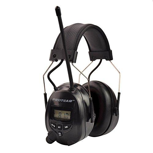 Protear Ear Defenders Schutz-Muffs Kopfhörer mit Radio AM / FM, Stereo-Kopfhöreranschluss, digitale elektronische Rauschunterdrückung 25dB für Schießen und Arbeiten--Schwarz