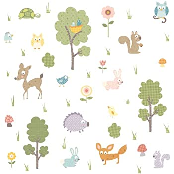 RoomMates Repositionable Childrens Wall Stickers   Woodland Animals
