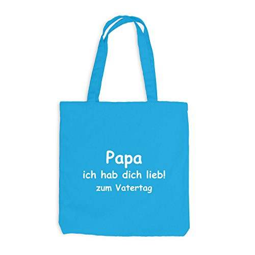 Jutebeutel - Papa - Ich habe dich lieb zum Vatertag - Dads day Surfblau